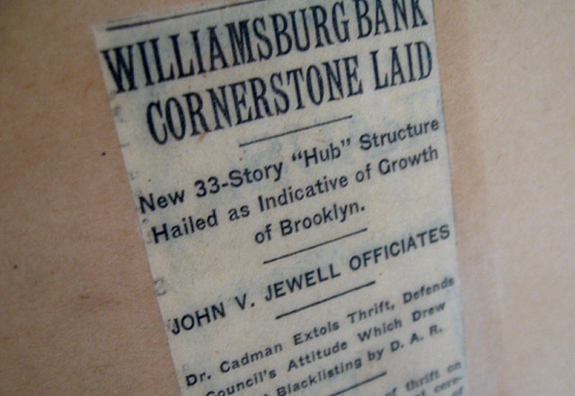 williamsburg bank cornerstone laid