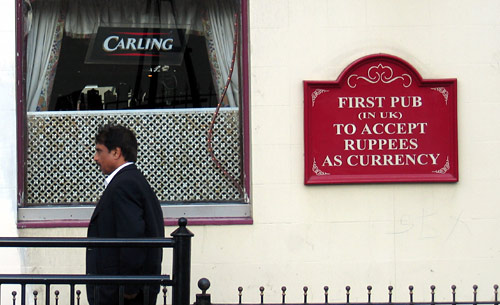 first pub in uk to accept rupees as currency